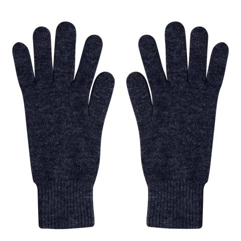 Laycuna London Navy Ribbed Short Cashmere Gloves