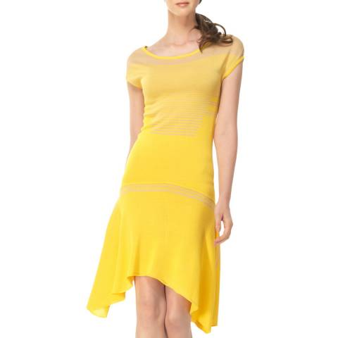 Leon Max Collection Yellow/Beige Fit And Flare Sweater Dress