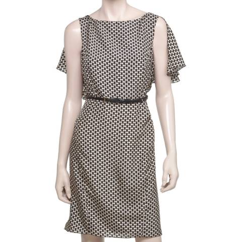 Leon Max Collection Black/Beige Gemetric Side Tucked Printed Dress
