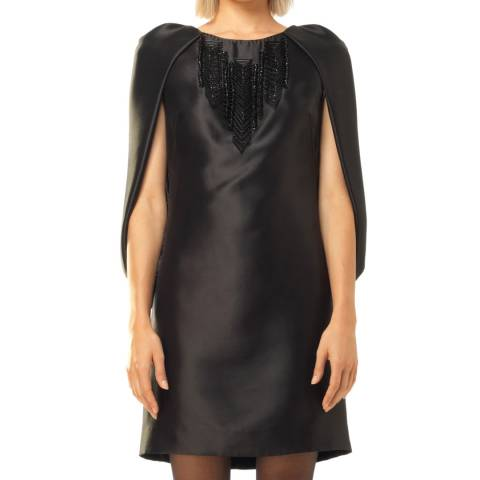 Leon Max Collection Black Beaded Capelet Dress