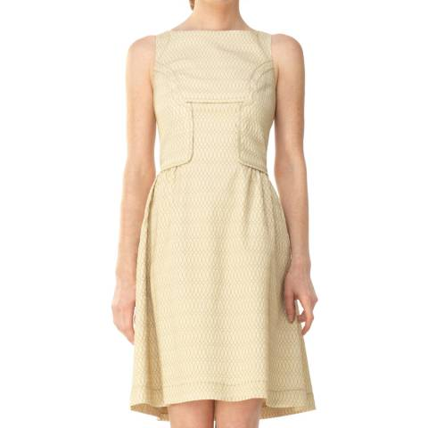 Leon Max Collection Beige Cloque Sleeveless V Neck Dress
