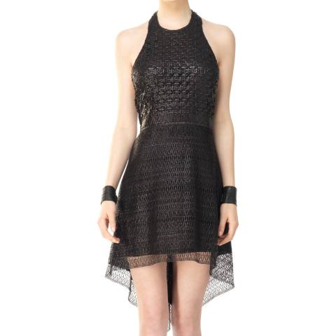 Leon Max Collection Black Rubberized Lace Dress