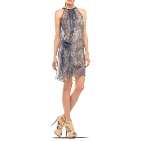 Leon Max Collection Blue Marble Front Drape Short Column Dress