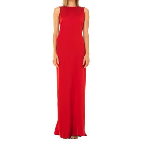 Leon Max Collection Bright Red Sleeveless Column Silk Dress
