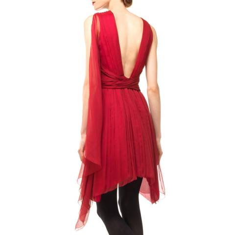 Leon Max Collection Burgundy Dress With Shoulder Drape