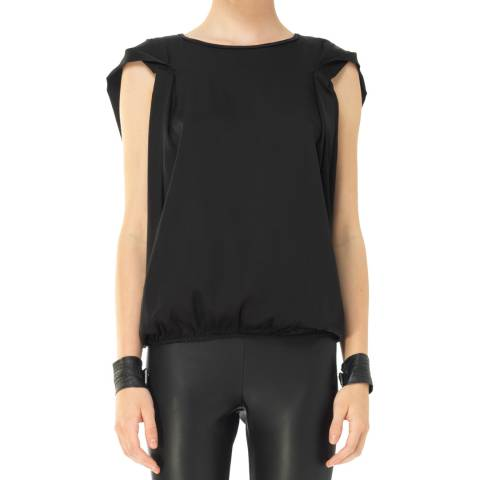 Leon Max Collection Black Cap Sleeve Bubble Top