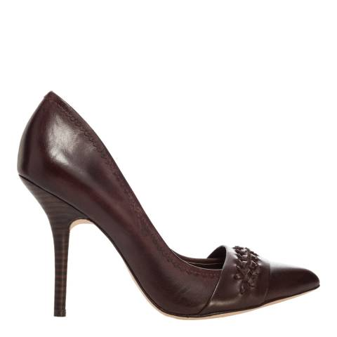 Leon Max Collection Merlot Leather Jess Pointed Toe Court Shoes