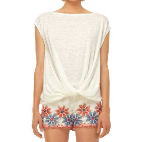Leon Max Collection White Twist Detail Short Sleeve Top