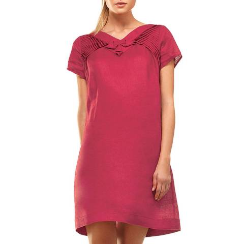 Leon Max Collection Red Hankie Linen Short Sleeve Dress