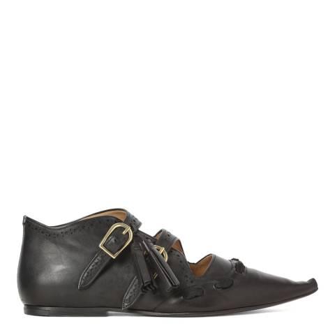 Joseph Black Leather Flat Buckle Boots