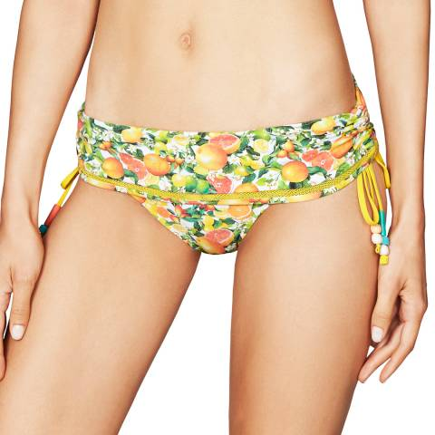Stella McCartney Green/Yellow Iconic Citrus Prints Folded Midrise Bikini Briefs