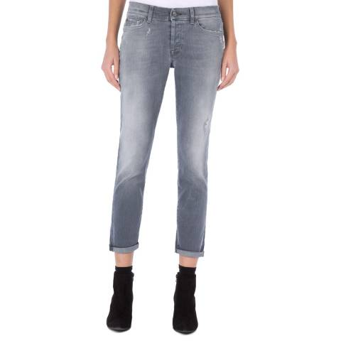 7 For All Mankind Grey Josefina Boyfriend Stretch Jeans