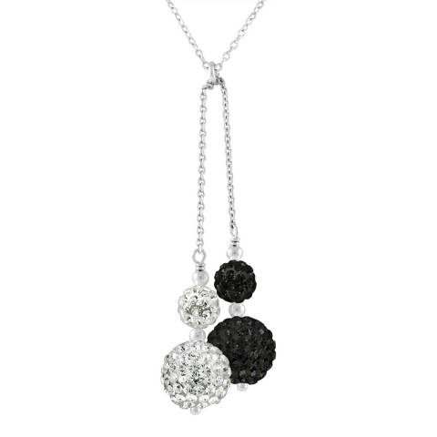 Wish List Black/White Crystal Silver Necklace