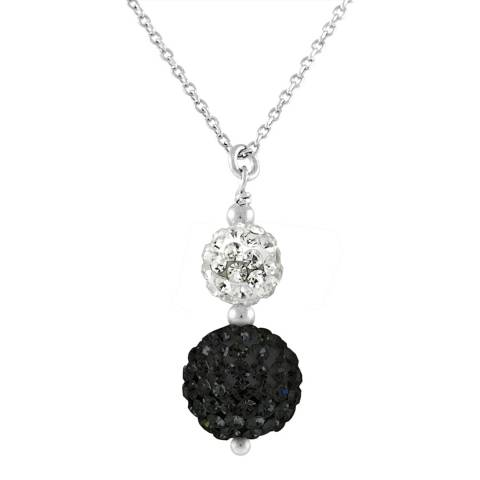 Deep Love Black/White Crystal Silver Duo Necklace