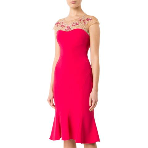 Marchesa Magenta Embellished Crepe Midi Dress