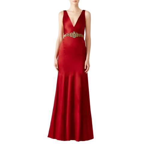 Marchesa Wine Stretch Satin Gown