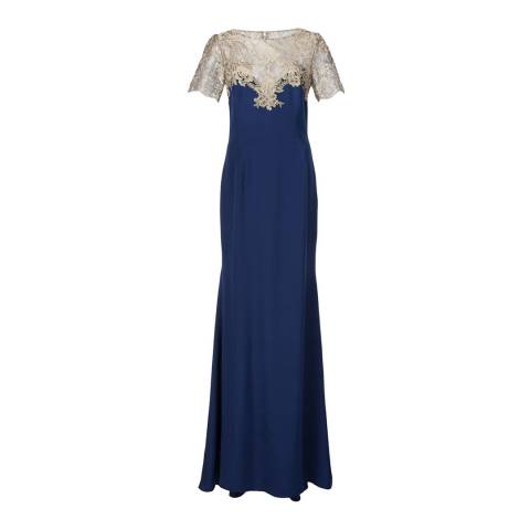 Marchesa Navy Embroidered Tulle And Stretch Silk Gown
