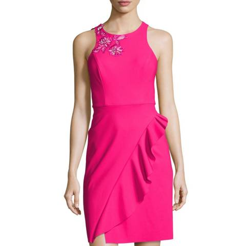 Marchesa Pink Draped Cocktail Dress