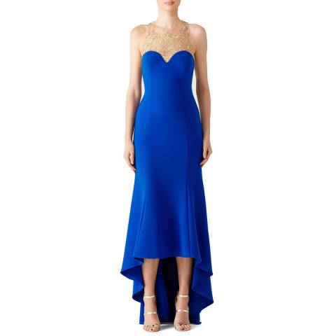 Marchesa Blue Stretch Crepe Beaded Bodice High Low Gown