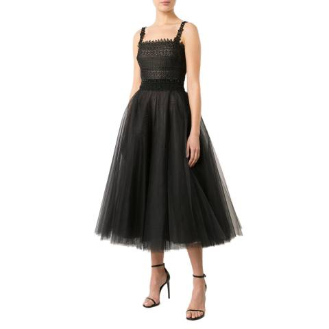 Marchesa Black Sleeveless Lace And Tulle Tea Dress