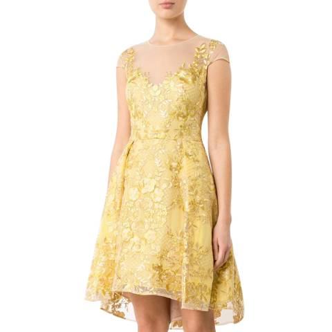 Marchesa Chartreuse Embroidered Cap Sleeve Party Dress