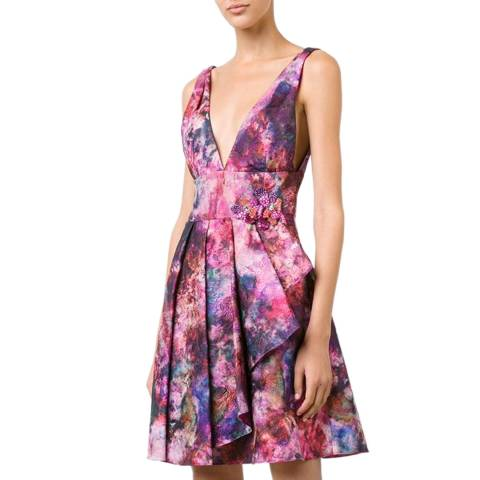 Marchesa Pink Flared Flower Dress