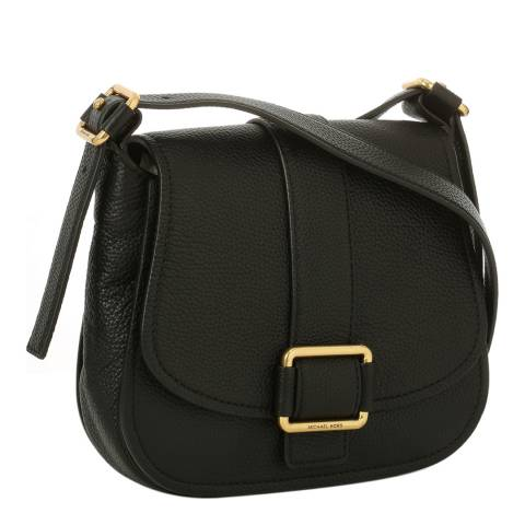 Michael Kors Black Maxine Large Leather Saddle Bag
