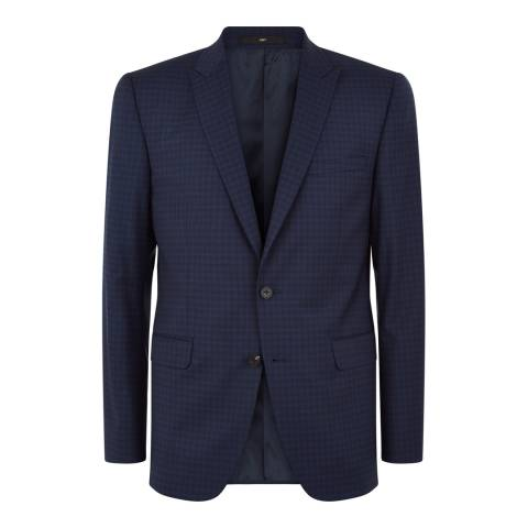 Jaeger Navy Wool Tonal Mini Check Suit Jacket
