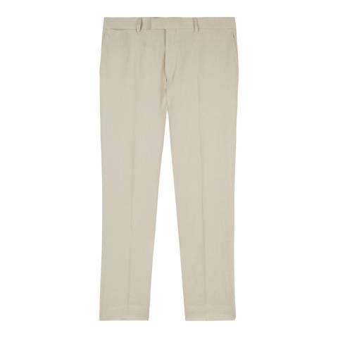 Jaeger Cream Cotton Linen Blend Trousers