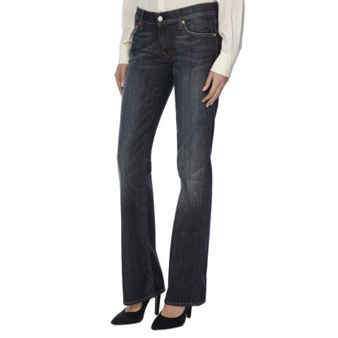 7 For All Mankind Blue Mid Rise Bootcut Stretch Jeans