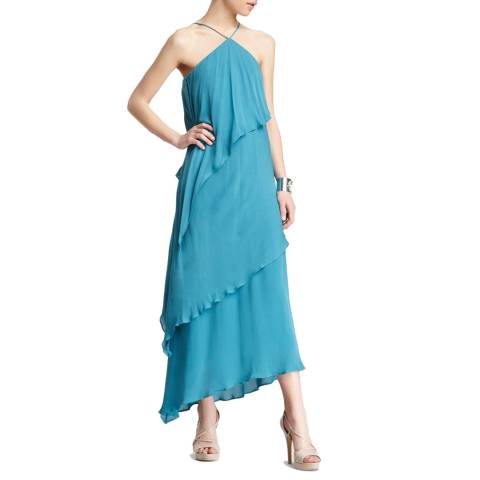 Halston Heritage Teal Halter Asymmetrical Tiered Silk Gown