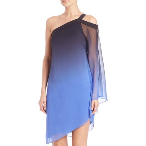 Halston Heritage Black/Periwinkle Asymmetric Sleeve Ombre Printed Dress