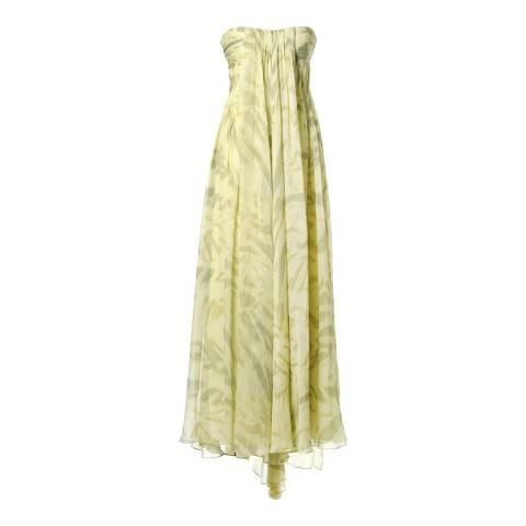 Halston Heritage Yellow Strapless Print Silk Gown