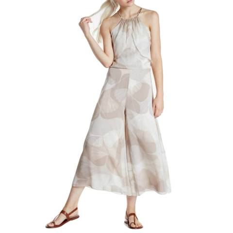 Halston Heritage Pebble Botanical Print Cold Shoulder Wide Leg Jumpsuit