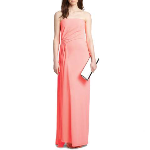 Halston Heritage Bright Guava Strapless Silk Contrast Gown