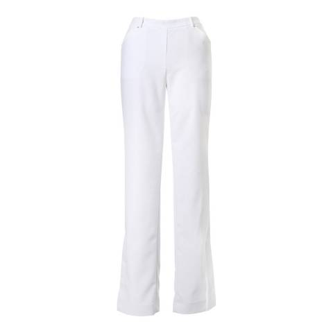 Halston Heritage Linen White Slim Boot Side Slit Detail Trousers