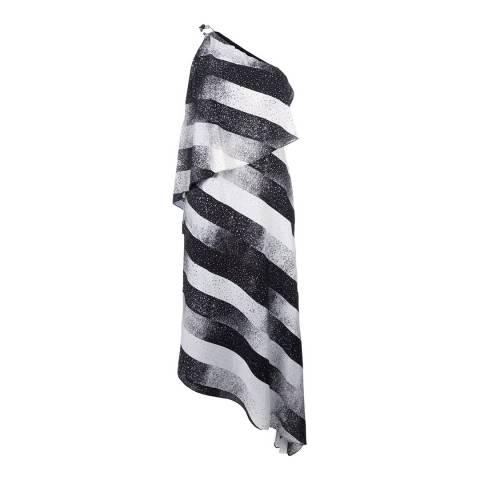 Halston Heritage Black/Chalk One Shoulder Asymmetric Flounce Printed Dress
