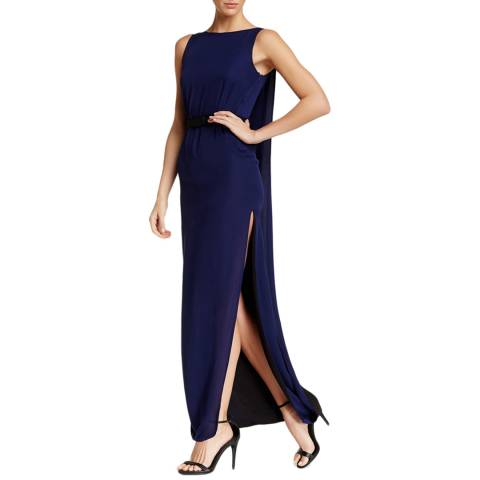 Halston Heritage Medium Blue Sleeveless Two Tone Evening Gown