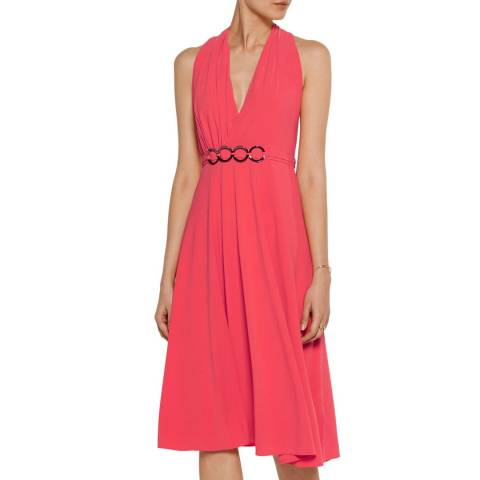 Halston Heritage Coral Draped Asymmetrical Back Dress