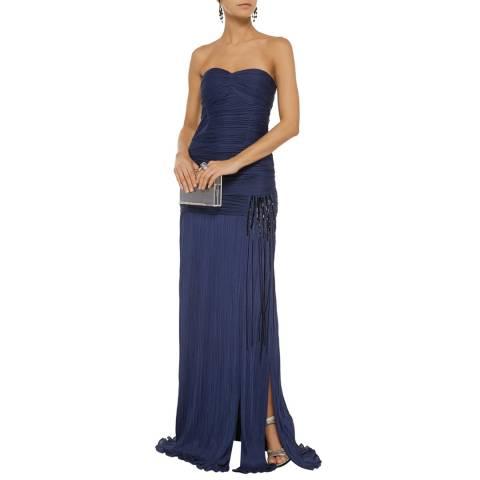 Halston Heritage Indigo Pleated Jersey Gown