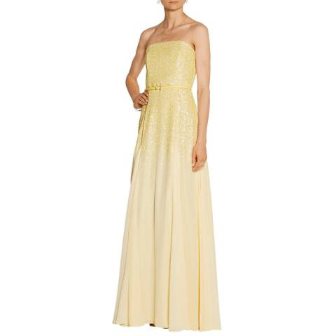 Halston Heritage Chamomile Strapless Sequined Georgette Gown