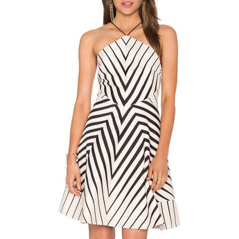Halston Heritage Oyster/Black Halter Neck Printed Structured Dress