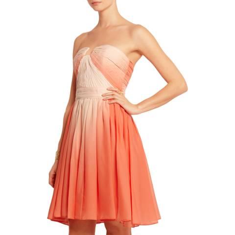 Halston Heritage Orange/Peach Pleated Ombre Chiffon Dress