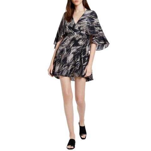 Halston Heritage Black Ripple Flowy Silk Printed Mini Dress