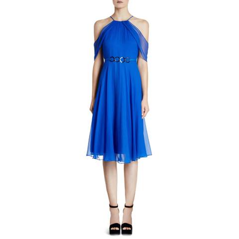 Halston Heritage Cobalt Cold Shoulder Round Neck Chiffon Dress