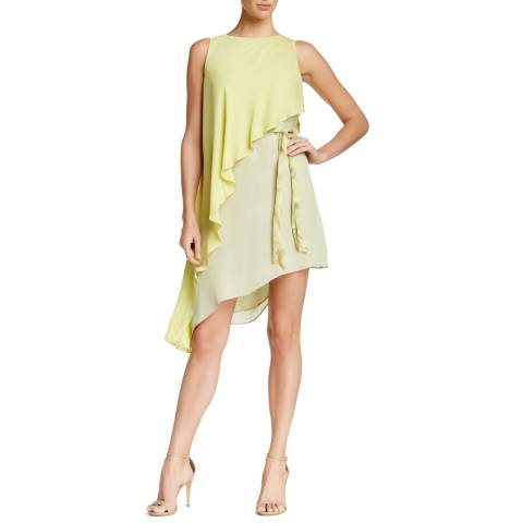 Halston Heritage Yellow Silk Sleeveless Asymmetrical Dress