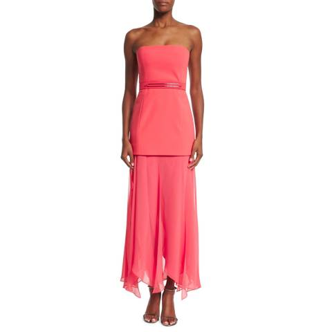 Halston Heritage Coral Strapless Crepe Georgette Gown