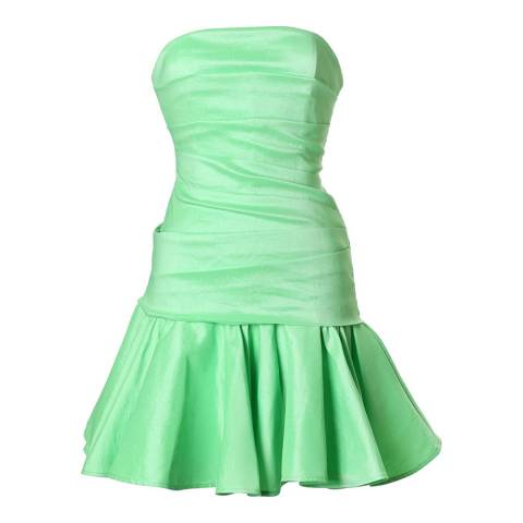 Halston Heritage Summer Green Dropped Waist Flare Cocktail Dress