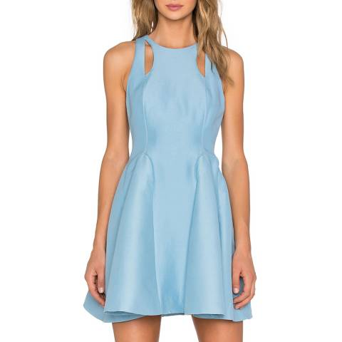 Halston Heritage Glacier Silk Cut Out Fit And Flare Dress