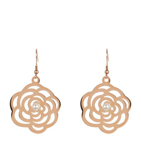 White label by Liv Oliver Rose Gold Rose and Pearl Drop Earrings